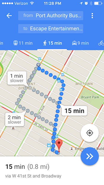 A screenshot of Google Maps showing walking direction options from Port Authority to Escape Entertainment in Mahnattan.