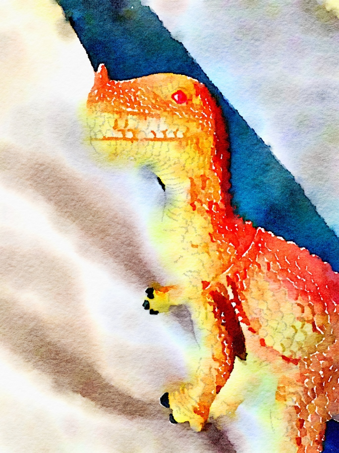 Watercolor painting of a large carnivorous dinosaur.