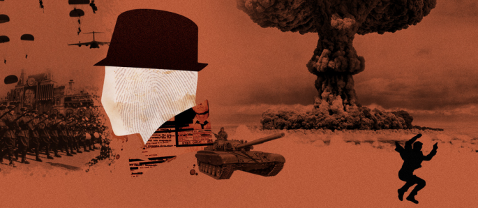 An orange, white, and black image advertising a Cold War themed game. A white silhouette of a man in a fedora sits in the foreground. Images of the Soviet Army and a nuclear explosion appear in the background.