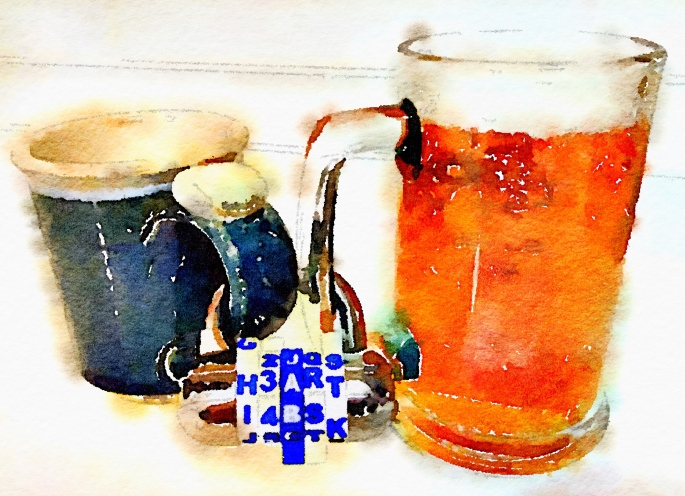 "Watercolor painting of a coffee mug and a beer stein locked together by their handles. The lock's combination spells, ""HEART""."