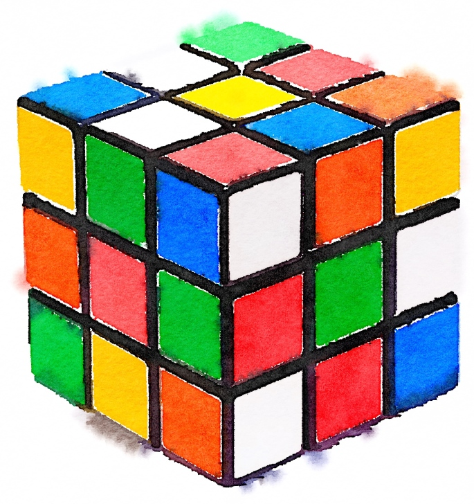 Watercolor painting of an unsolved 3x3 Rubik's Cube