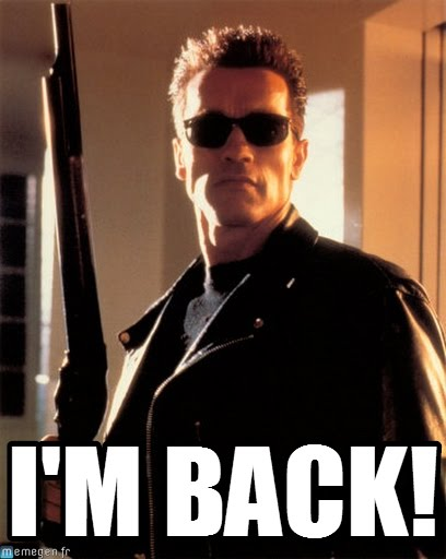 Photo of a gun-weilding, sunglasses-clad Arnold Schwarzenegger from Terminator 2, captioned,