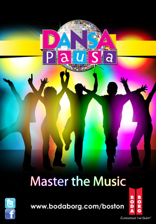 Dansa Pausa game poster. Depicts people dancing in a club. It says,
