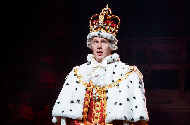 Photo of actor Jonathan Groff as King George, III in Hamilton.
