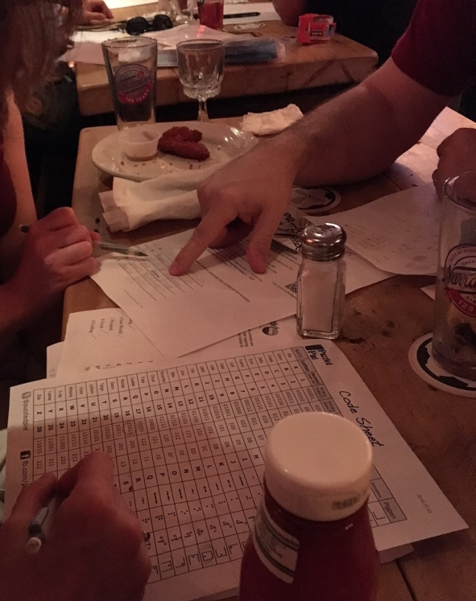 A photo of hands working on solving a puzzle on a bar table. The puzzle is surrounded by beer glasses and plates of food.