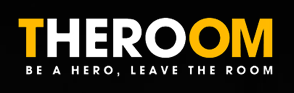 "The Room Logo visually highlights the word, ""HERO"" in the conglomerated spelling of ""THEROOM."""