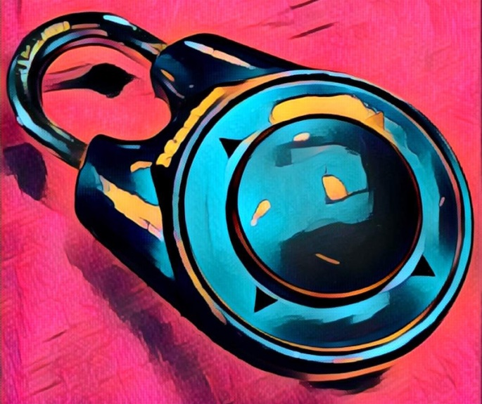 Stylized painting of a blue directional lock set on a red background.