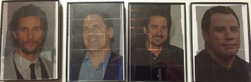 Four photographs of celebrities with transparent tiles over their faces.