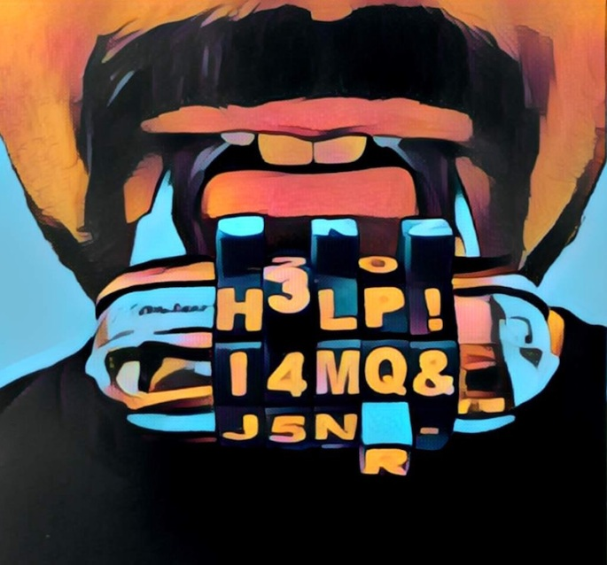 "Painting of a mouth with a word lock in its mouth. The lock reads, ""HELP!"""