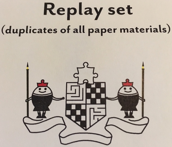 "The ""replay set: (duplicates of all paper materials)."""