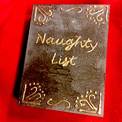 In-game, close-up of the Naughty List.