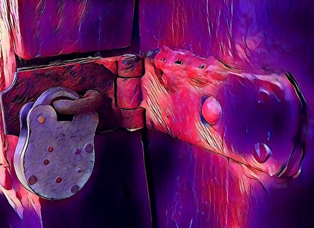 Painting of a lock. The background is pink, purple, and black. A large old lock holds teh door shut.