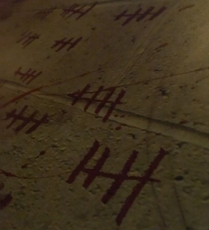 In-game: Closeup of tally marks scrawled on a concrete wall.