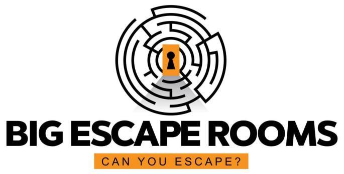 Big Escape Room's maze logo. Captioned,