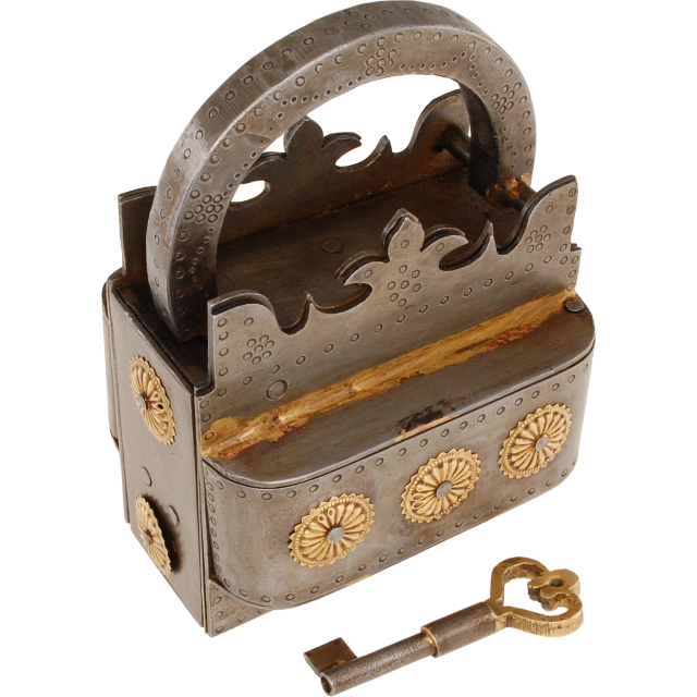 A massive and intricate puzzle lock that is shaped like a crown.